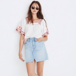 Madewell Denim A-Line Mini Skirt Cutout Edition 27